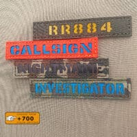 Samples Name Tape's of custom's patches in diferent fabrics and colors/texts
