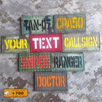 Samples of custom's patches in diferent fabrics and colors/texts