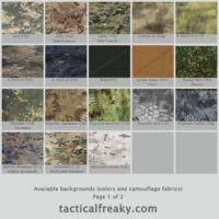 Available Backgrounds (Colors and Camouflages)