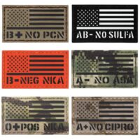 "USA American Flag Blood Type 2""x3.5"" Allergies OPOS O+ APOS A+ NKDA NKA NOPCN NOASA velcro patch"