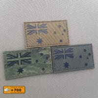 """Three patches of the Australia Flag all of them with size 2""""x3.5"""" in diferent fabrics and the IR text"""