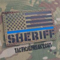 IR Sheriff 3x5 Jumbo Big Multicam Thin Blue Line Law Enforcement LEO Infrared Reflective Laser Cut Velcro Patch