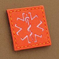 Hi Viz EMS Medic Star of Life 2x2 MED Blaze Fluorescent Orange SOLAS Reflective Tape SAR Tactical Morale VELCRO (C) brand Patch