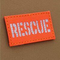 Hi Viz RESCUE 2x3.5 SAR Search And Rescue Blaze Fluorescent Orange SOLAS Reflective Tape Tactical Morale VELCRO (C) brand Patch