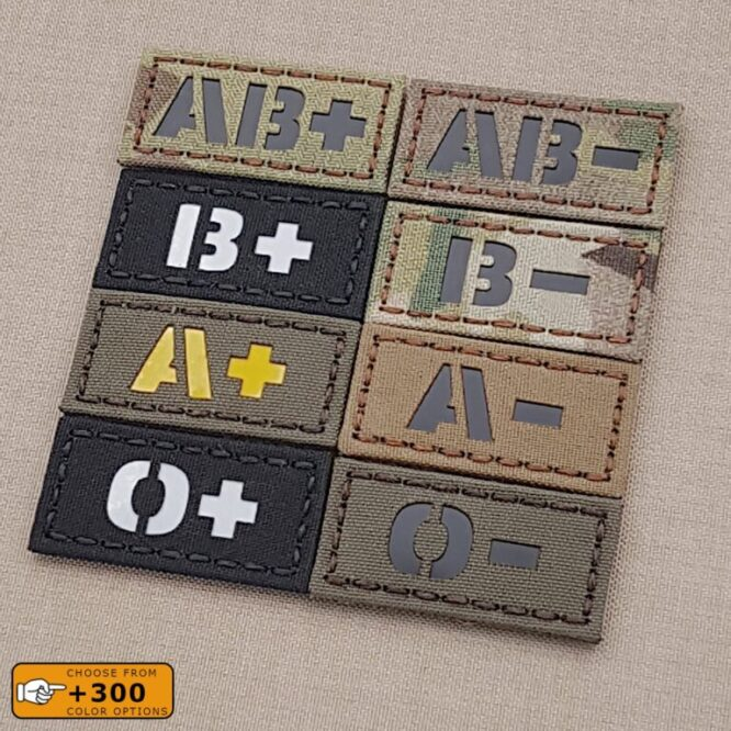 """Mini 1""""x2"""" Blood Type First Aid OPOS O+ APOS A+ ONEG O- ANEG A- IFAK MED Laser Cut Velcro (C) Patch"""