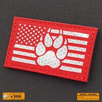 Reflective Hi Viz America Flag K9 Handler Dog Paw USA Laser Cut Tactical Laser Cut Velcro© Patch