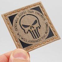 IR Punisher God Will Judge Our Enemies DEVGRU Navy Seals 2x2 Desert Sand Tan Laser Cut Velcro© Patch