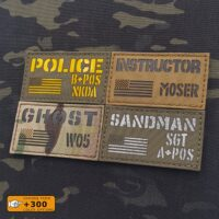 """Custom Mini ID Panel 2""""x3.5"""" Your Texts USA America flag Army Military Morale Tactical Laser Cut Velcro© Brand Patch"""