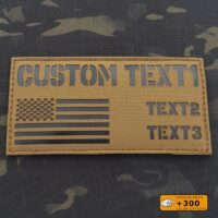 """Custom ID Panel 3""""x6"""" Your Texts USA America flag Army Military Morale Tactical Laser Cut Velcro© Brand Patch"""