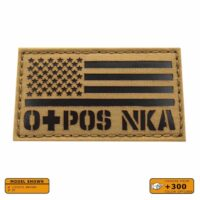 USA America Flag OPOS O+ Blood Type NKA NKDA Army Military Laser Tactical Morale VELCRO(C) brand Patch