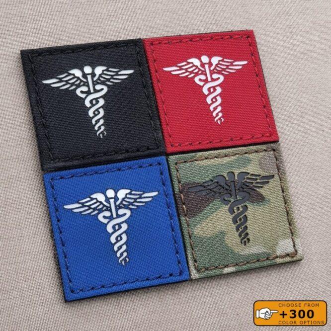 Caduceus 2x2 Medic EMS EMT Nurse Doctor MED Medical Tactical Morale Laser Cut Velcro© Patch