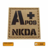 APOS A+ Blood Type Allergies 2x2 Tactical Morale Laser Cut Velcro© Patch