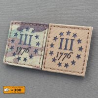 Three Percenter 1776 US 2x2 Militia 3% 2A America Revolution Morale Tactical Laser Cut Velcro© Brand Patch