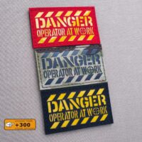 Danger Operator At Work 2x3.5 Morale Military Tactical Army Laser Cut Velcro Brand Patch