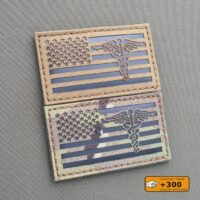 America Flag Caduceus 2x3.5 Medic EMS USA Morale Tactical Army Laser Cut Velcro Brand Patch