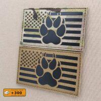 USA Flag K9 America Paw Dog Handler Tactical Cut Morale Laser Velcro© Brand Patch