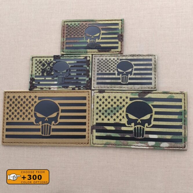 Punisher Skull USA American Flag Laser Cut DEVGRU Army Military IFF Tactical Morale Velcro© Brand Patch