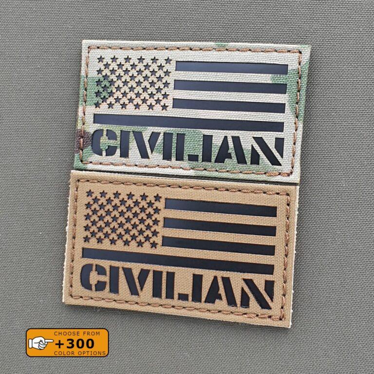USA Flag Civilian America Army Military Morale Militia Tactical Laser Cut 2A Velcro© Brand Patch