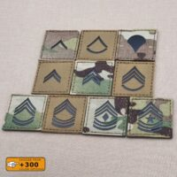 """US Army Enlisted Ranks 2""""x2"""" Private Corporal Master First Class Staff Sergeant Corporal Laser Cut Velcro Brand Patch"""