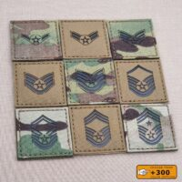"""USAF Enlisted Ranks 2""""x2"""" Chief Senior Master Staff Sergeant Airman First Class Military Laser Cut Velcro Brand Patch"""