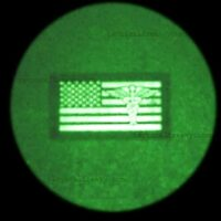 """A 2""""x3.5"""" patch with America Flag Caduceus in night vision image"""