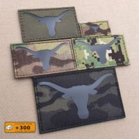 Texas Longhorn Laser Cut IFF Tactical Morale Velcro© Brand Patch