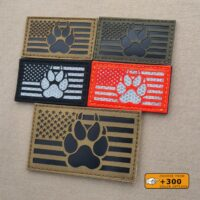 America Flag K9 Handler Dog Paw USA Laser Cut Tactical Laser Cut Velcro© Patch