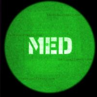 """A 2""""x3.5"""" patch with MED in night vision image"""