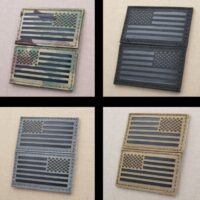 Bundle Set of 2 America Forward And Reversed Flags USA Military Army Morale Laser Cut Velcro© Brand Patches
