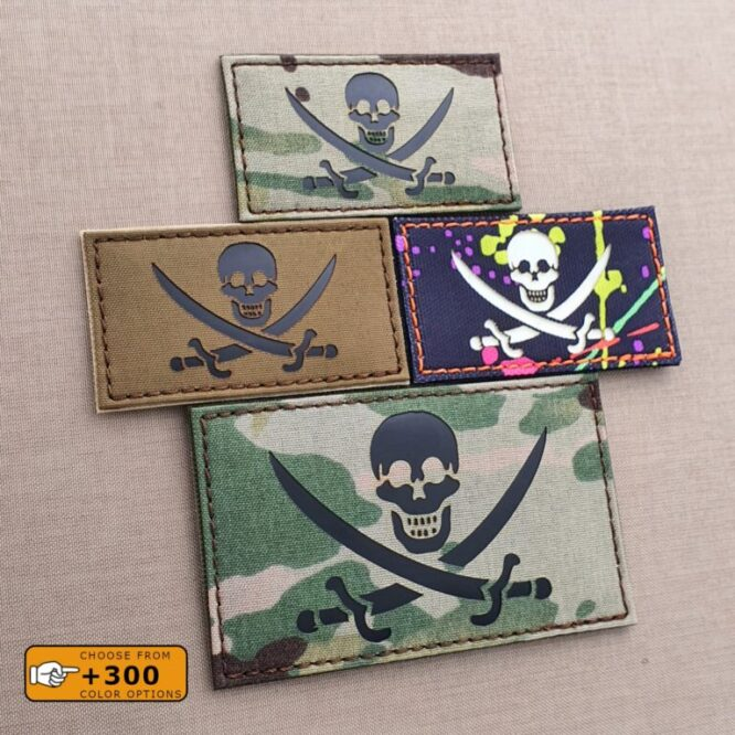 Jolly Roger Calico Jack Pirate Jack Rackham Army Military Morale Tactical Laser Cut Velcro© Brand Patch