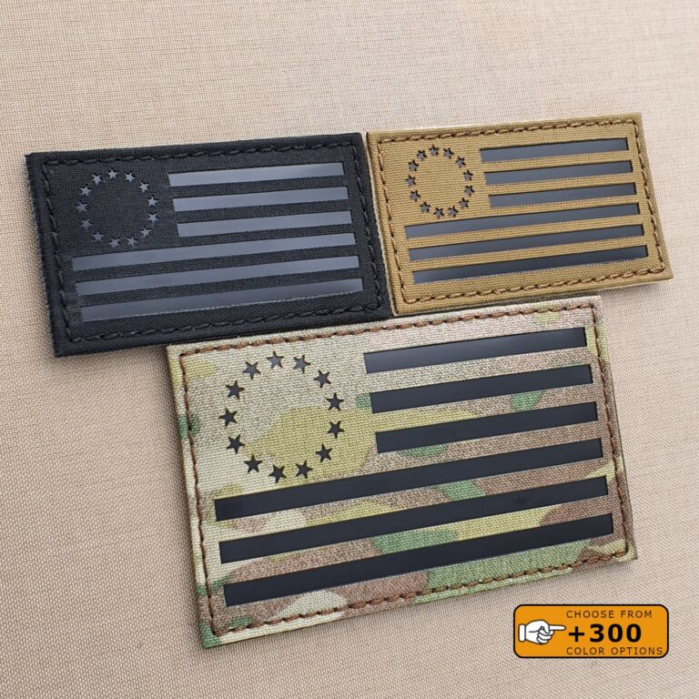 Betsy Ross Flag American Revolutionary War Morale 1776 Tactical 3% Laser Cut 2A Velcro© Brand Patch