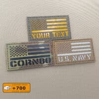 Samples of custom's patches with the USA Flag and one text in diferent fabrics and colors/texts