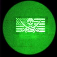 """A 2""""x3.5"""" patch with USA Flag with Jolly Roger in night vision image"""