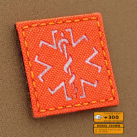 EMS Medic Star of Life Hi Viz MED SOLAS Reflective 2x2 Tape SAR Blaze Fluorescent Orange Tactical Morale Velcro© Brand Patch