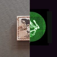"""A 2""""x2"""" patch with the Frog bones in AOR1 Digital Desert IR combined with a night vision image"""