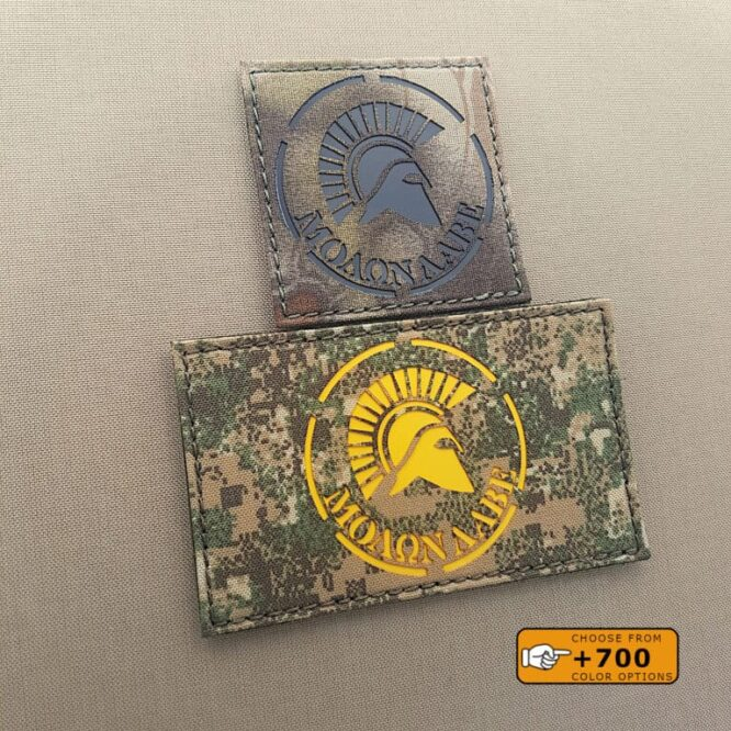 """Two patches of the Spartan Molon Labe DEVGRU: one with size 3""""x3"""" in Kryptek Mandrake background with solid black and another one with size 3""""5"""" in Pencott Badlands background with solid yellow"""