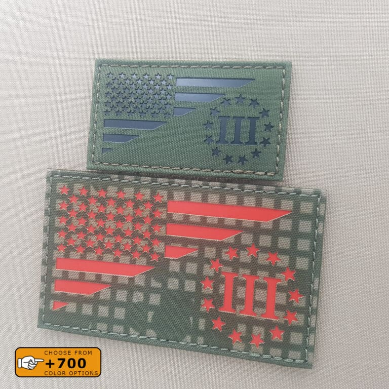 """Two patches of the friendshiip flag Three Percenter and USA: one with size 2""""x3.5"""" in OD Green with IR and another one with size 3""""x5"""" in Desert Night with solid red"""
