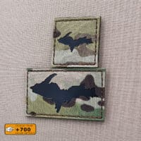 """Two patches of the Upper Peninsula Michigan Yooper cutout: one with size 2""""x2"""" in Multicam background with IR and another one with size 2""""x3.5"""" in Multicam background with IR"""