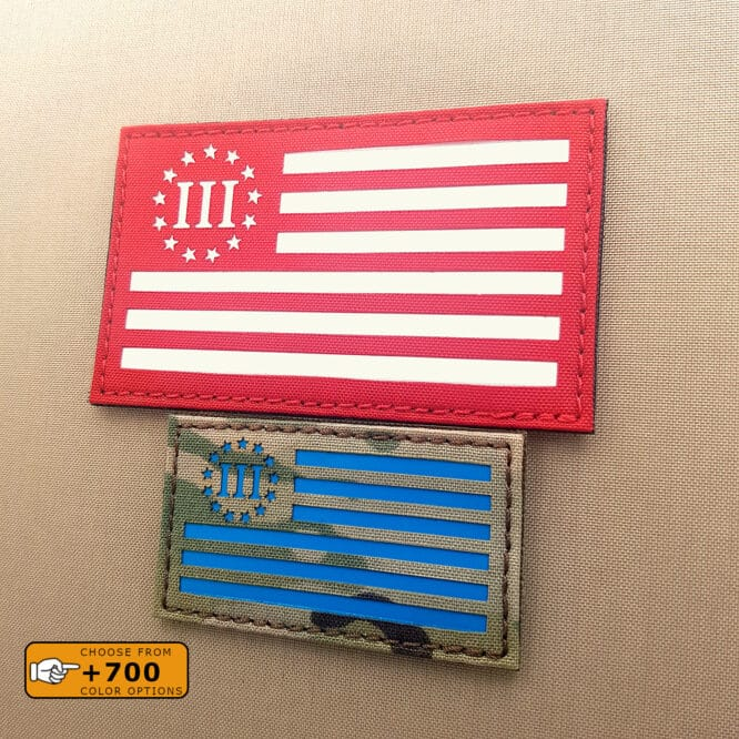 """Two patches of the Three Percenter USA flag: one with size 2""""x3.5"""" in Multicam with solid blue and the other one with size 3""""x5"""" in Red with solid white"""