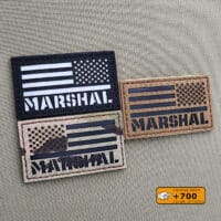 Three patches with de USA Flag and the text Marshal below