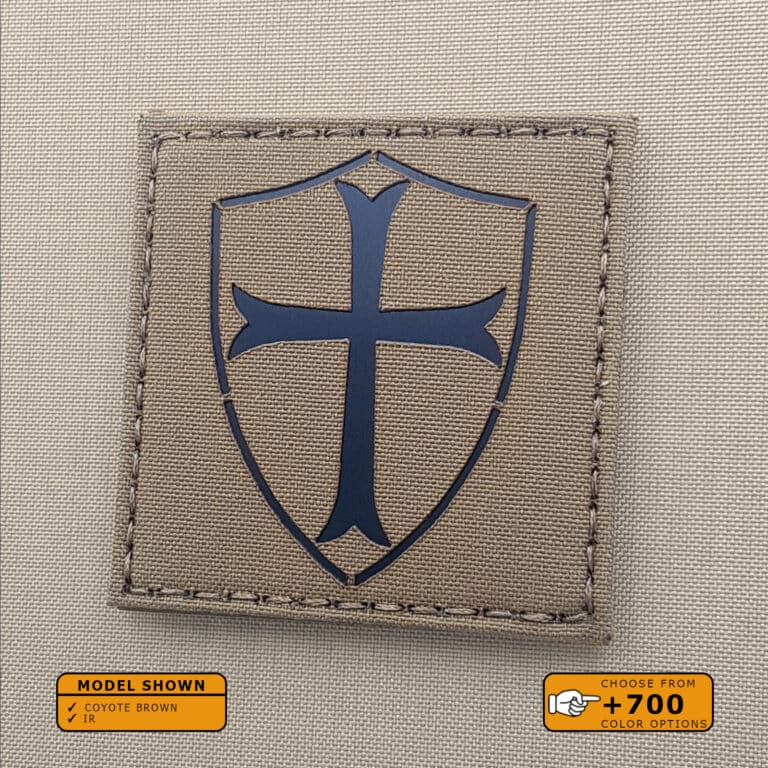 """Crussader Cross patch with size 3""""x3"""" in Coyote Brown Infrared (IR)"""
