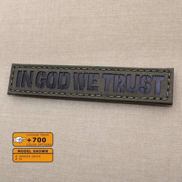 """In God We Trust Callsign Name Tape patch with size 1""""x5"""" in Ranger Green background and Infrared (IR)Text"""
