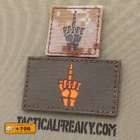 """Two patches of the Fuck You Sign in skeleton hand one with size 2""""x2"""" in Desert Marpat IR and the other one with size 2""""x3.5"""" in Ranger Green solid orange"""