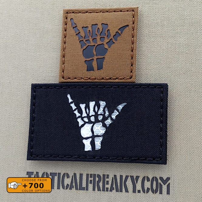 """Two patches of the Shaka Sign one with size 2""""x2"""" in Coyote IR and the other one with size 2""""x3.5"""" in Black Reflective 3M Prismatic white"""