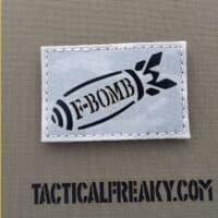 """A F Bomb Military Patch with size 2""""x3.5"""" with Multicam Alpine background and IR (infrared) feature"""